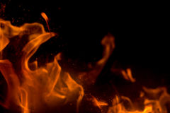 Flame with sparks Royalty Free Stock Photos