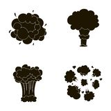 Flame, sparks, hydrogen fragments, atomic or gas explosion. Explosions set collection icons in black style vector symbol Royalty Free Stock Photos