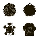 Flame, sparks, hydrogen fragments, atomic or gas explosion. Explosions set collection icons in black style vector symbol Stock Photos