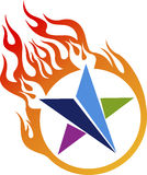 Flame star logo. Illustration art of a flame star logo with isolated background Stock Photography