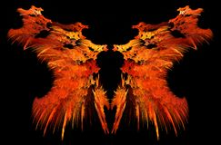 Flame Strange Mirrored Abstract. Flame strange mirrored double special effect abstract, dark background, horizontal Royalty Free Stock Photo