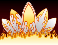 Flame surf boards design Royalty Free Stock Image