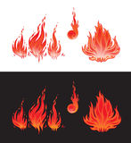 Flame symbols. Fire. Different flame symbols. On white and black background Stock Photo