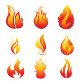 Flame symbols. Set of fire flame symbols - illustration Stock Photos