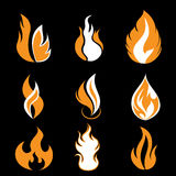 Flame symbols. Set of fire flame symbols - illustration Royalty Free Stock Images