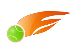 Flame Tennis Ball Illustration. Isolated green flame tennis ball illustration with white background Stock Photos