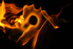 Flame tips on a black background Royalty Free Stock Photography