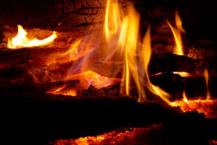Flame tips on the firewood. Royalty Free Stock Images
