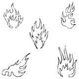 Flame tongues. Sketch by hand. Pencil drawing by hand. Vector image. The image is thin lines Stock Photos
