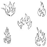 Flame tongues. Sketch by hand. Pencil drawing by hand. Vector image. The image is thin lines Stock Image