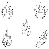 Flame tongues. Sketch by hand. Pencil drawing by hand. Vector image. The image is thin lines Stock Photography