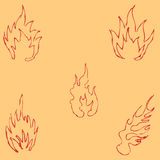 Flame tongues. Sketch by hand. Pencil drawing by hand. Vector image. The image is thin lines. Vintage Stock Photo