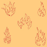Flame tongues. Sketch by hand. Pencil drawing by hand. Vector image.. Vintage Royalty Free Stock Image