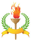 Flame torch with banner Stock Photo