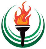 Flame Torch Logo Royalty Free Stock Photography