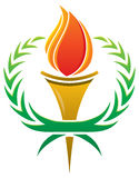 Flame Torch Logo. A flame logo with a surrounding laurel wreath royalty free illustration