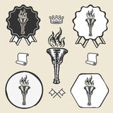 Flame torch vintage symbol emblem label collection Stock Images