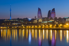 Flame Tower in Baku Stock Photography