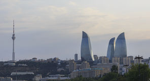 Flame Towers in Baku Stock Images