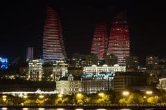 Flame Towers in Baku. Night Baku Azerbaijan caspian sea Stock Photo