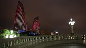Flame Towers in Baku stock video footage