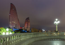 Flame Towers in Baku Stock Image