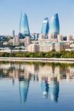 Flame Towers in Baku. Baku Flame Towers is the tallest skyscraper in Baku, Azerbaijan with a height of 190 m. The buildings consist of apartments, a hotel and Royalty Free Stock Photos