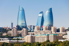 Flame Towers in Baku. Baku Flame Towers is the tallest skyscraper in Baku, Azerbaijan with a height of 190 m. The buildings consist of apartments, a hotel and stock image