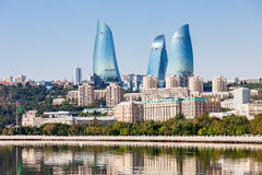 Flame Towers in Baku. Baku Flame Towers is the tallest skyscraper in Baku, Azerbaijan with a height of 190 m. The buildings consist of apartments, a hotel and royalty free stock image