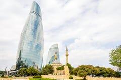 Flame towers and mosque, Baku, Azerbaijan Stock Photography