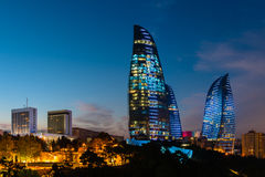 Flame Towers are new skyscrapers in Baku Royalty Free Stock Photography