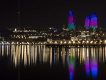 Flame Towers. At night in Baku stock photography