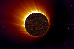 Flame Unknown planet. On a dark galaxy background Royalty Free Stock Photo