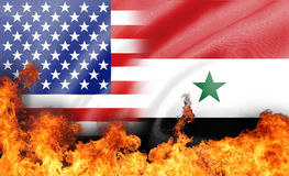 Flame on us and syria  flag Stock Image