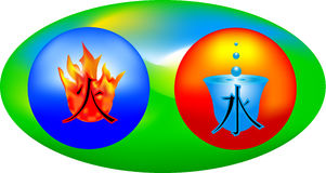 Flame and water. Fire and water on background of the green oval Stock Photo