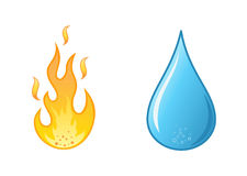 Flame  and water drop on white background Stock Photos