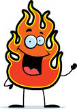 Flame Waving. A cartoon flame waving and smiling Stock Photos