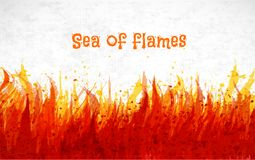 Flame on white background. Place for your text. Vector illustration of fire.  Stock Photography