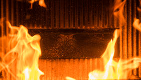 Flame in a wood burner Stock Photo