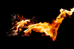 Flame. When wood burning produces beautiful flame Royalty Free Stock Photo