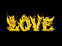 Flame word. Word love made from flame Royalty Free Stock Photos