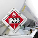 Flameable sign on tanker. Stock Images