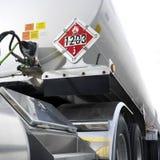 Flameable Zeichen auf Tanker. Lizenzfreies Stockbild
