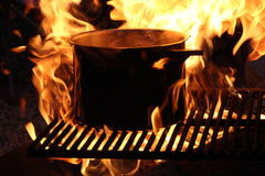 Flamed campsite. Fire lit campsite site Royalty Free Stock Images