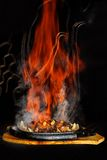 Flamed hot bbq Stock Images