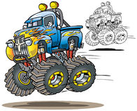 Flamed Monster Truck. Cartoon flamed airborne monster truck in both full color and line art versions royalty free illustration