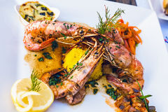 Flamed Prawns Stock Images