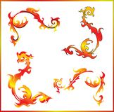 Flamed swirls Stock Images