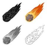 Flamee el icono del meteorito en estilo de la historieta aislado en el fondo blanco Dinosaurios y vector prehistórico de la acció stock de ilustración