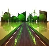 Flamee en el camino para poner verde concepto accionado de la ciudad ilustración del vector